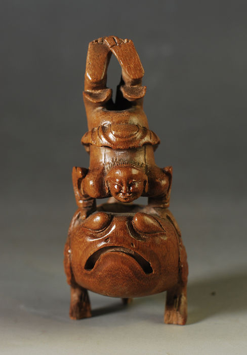 Bamboo Carving of Liu Hai,  fortune boy with three feet toad  -China- 19th Century