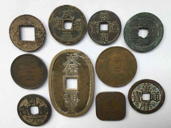 Asia - Lot of 10 coins: China, Japan, India, Straits settlements and Vietnam