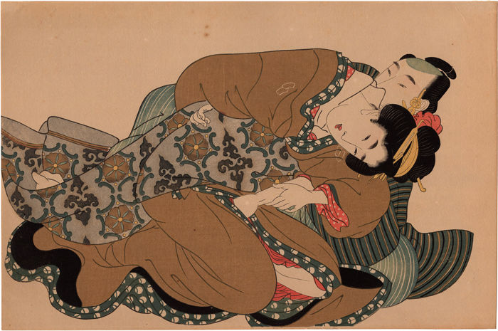Abuna-e woodblock print by Kikukawa Eizan (1787-1867) (reprint) - Embrace of Love - Japan - ca. 1920-30s