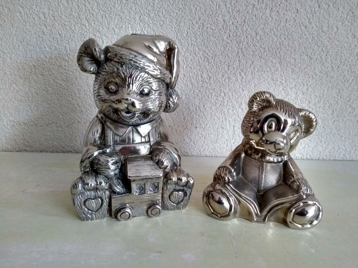 Two heavy silvered bears money boxes - Silverplate - Europe and China - 1950-1999