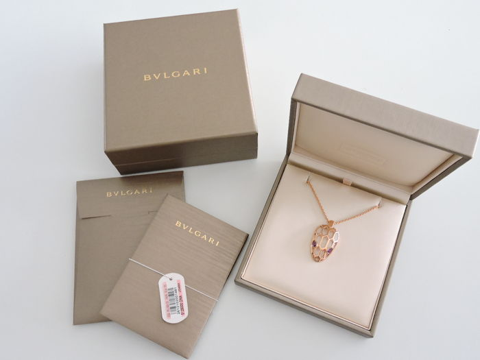BVLGARI BULGARI - SERPENTI - 18 kt. Gold, 18K PINK GOLD - 99% NEW,Never Used -  - Necklace with pendant Amethyst