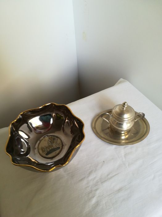 Silver 925 laminate jewelry holder and silver Plated tray and sugar pot - 3 - .1000 silver, .925 silver - Italy - 1950-1999