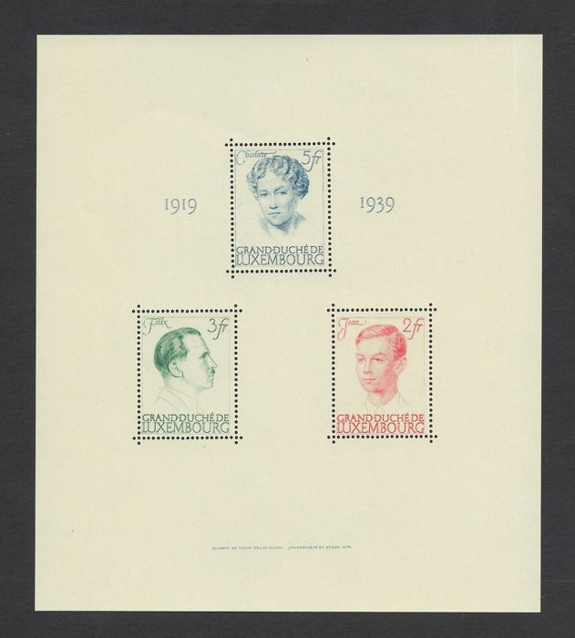 Luxembourg 1939 - 20th Anniversary of the reign of Charlotte, sheet - Yvert Nº 3