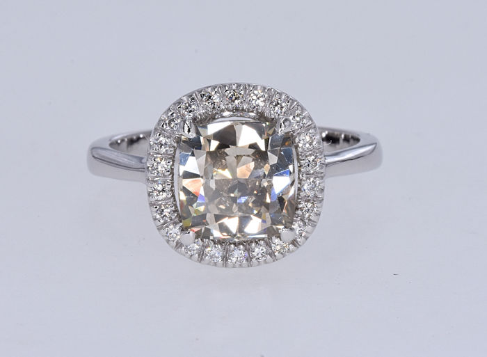 Ring - White gold - Natural (untreated) - 3.42 ct - Diamond