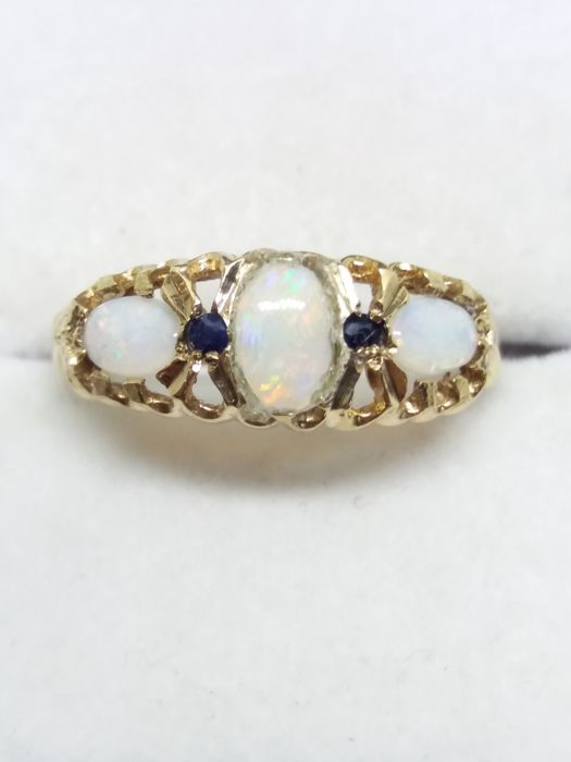 Opal trio & Sapphire gold ring  - Gold - 0.5 ct - Opal