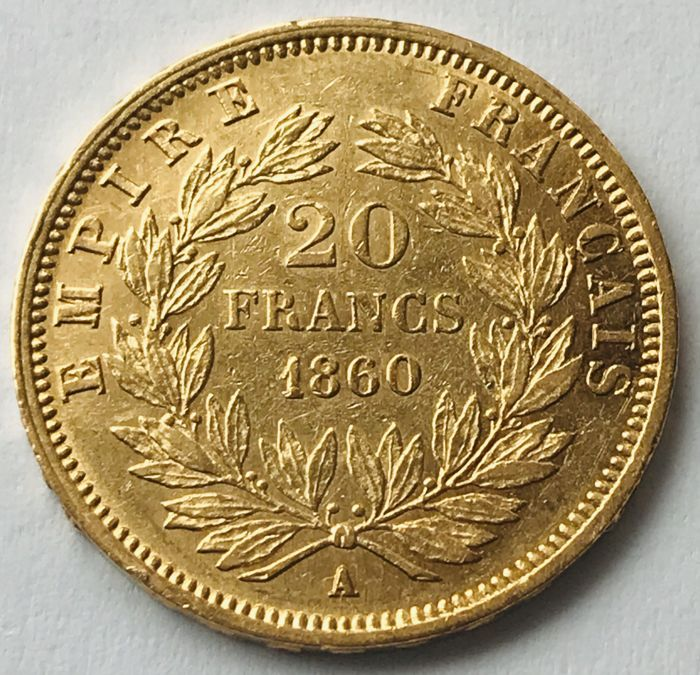 France - 20 Francs 1860 A - Napoleon III. - Gold