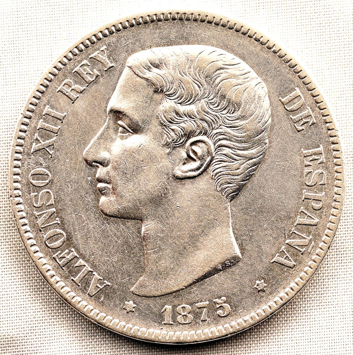 Spain - 5 Pesetas - 1875*18-75 - Madrid - Alfonso XII - ESCASA - Silver