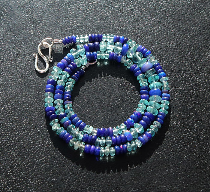 Necklace - Silver - 50 ct - Opal and Apatite