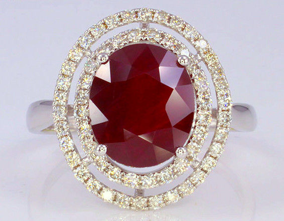 Ring - 750 / 18ct white gold - 4.34 ct - natural ruby * GIA certificate * and Diamond