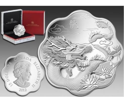 """Canada 2012 $15 /""""Year of the Dragon/"""" Lunar Lotus Silver Proof Coin"""