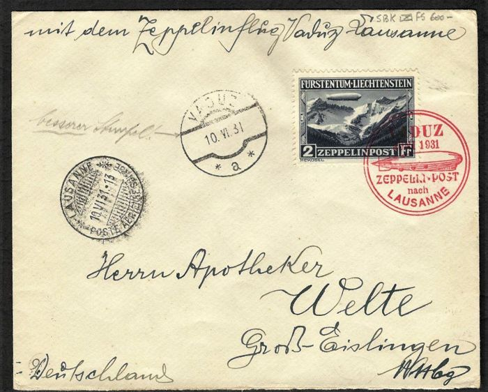 Liechtenstein 1931 - Cover Zeppelin Post - sbk P.A A8