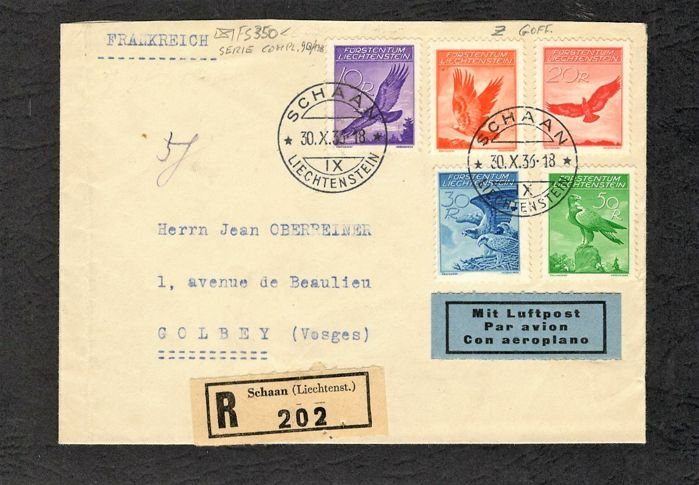 Liechtenstein 1934 - Cover with complete set on embossed paper - sbk n.9B/13B