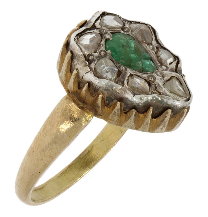 Kroonring - Ring - Gold - Diamond and Emerald
