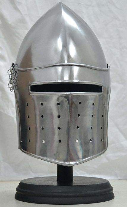 Replica Medieval Barbuta helmet with stand - Iron (cast/wrought