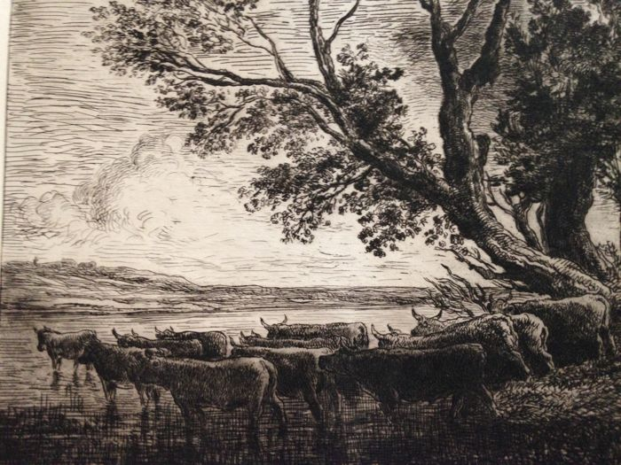 Ten etchings by Charles Francois Daubigny (1817 - 1878) - Landscapes and others