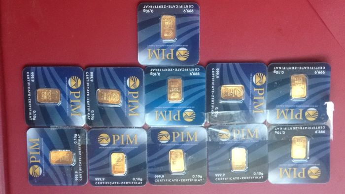 11 gold bars, 999.9 gold purity, 1 gram, PIM, in a plastic card