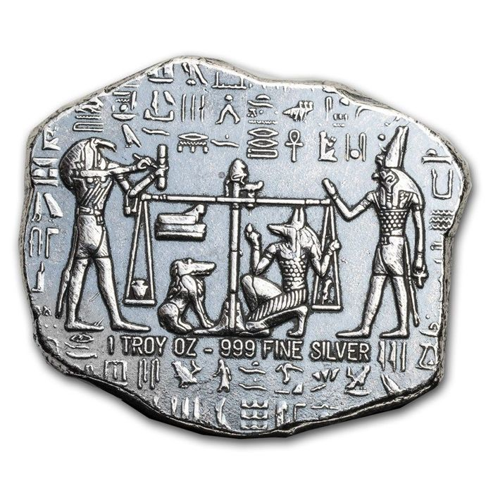 EE. UU. - 1 oz Hand-Poured Egyptian Antique Relic Bar - Plata