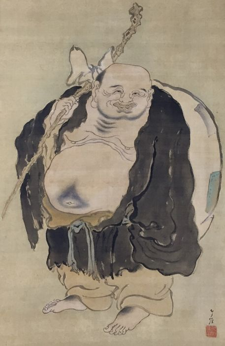 'Bùdài, Hotei, Laughing Buddha', Original old handpainted scroll painting, signed and stamped - Japan - ca. 1900