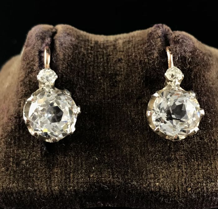 Earrings - Pink gold, Silver - No indication of treatments - 4.06 ct - Sapphire and Diamond
