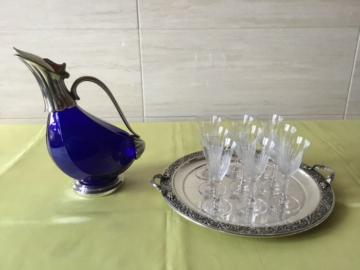Decanter with tray and glasses - Crystal, Silverplate - Italy - 1950-1970