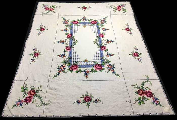 Cross Stitch Flowers Pattern Hand Embroidery Tablecloth Catawiki