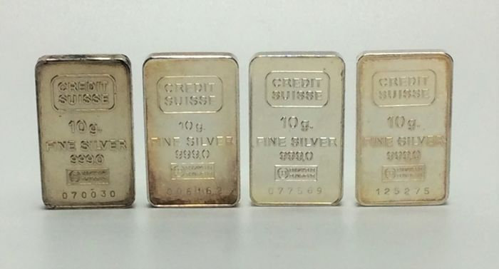 Credit Suisse - 4 x 10 grams - 999/1000 - Minted silver bars - With serial numbers