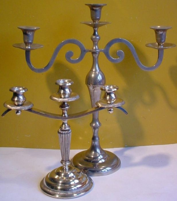Two three-armed table candlesticks - Silver-plated and nickel-plated metal - Netherlands