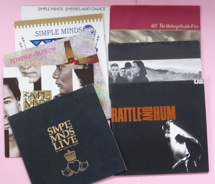 Set of Simple Minds and U2 albums