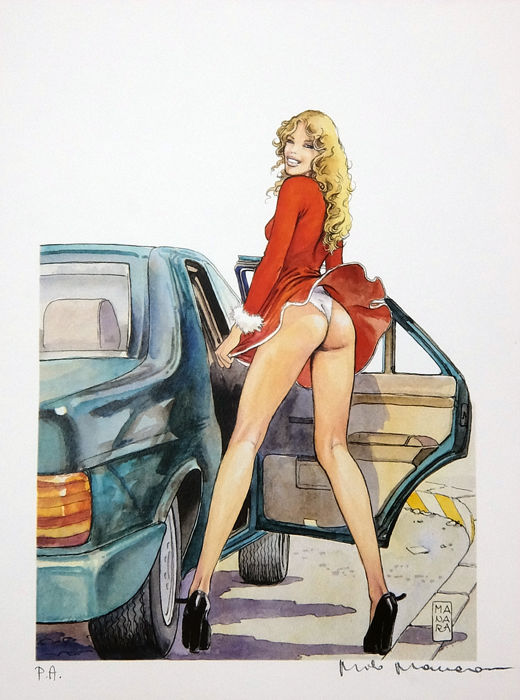 "Milo Manara - lito ""Donne e motori"" #1 - Loose page - First edition - (2003)"
