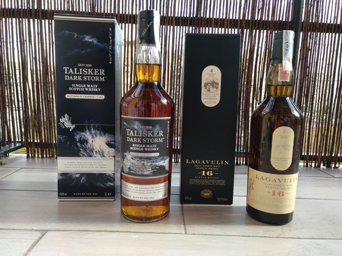 123d34733 Lagavulin 16 years old   Talisker Dark Storm - 70cl   100cl - 2 bottles ...
