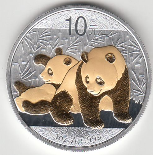 China - 10 Yuan 2010 - Panda - gold gilded - 1 Oz - Silver