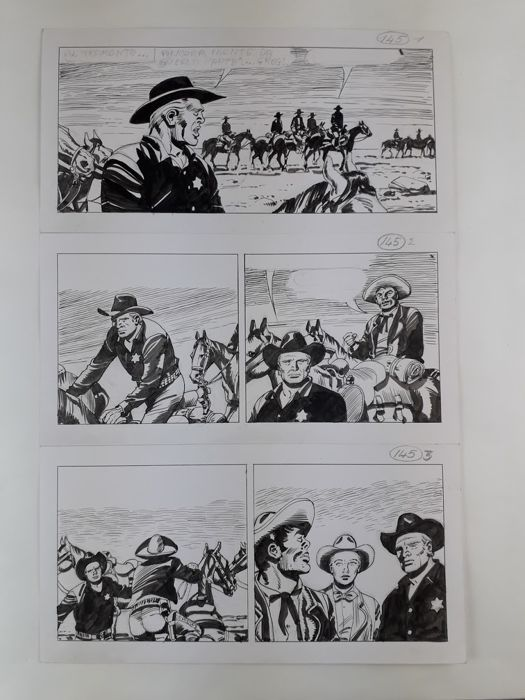 Tex - Guglielmo Letteri - 2x unpublished original pages - Loose page