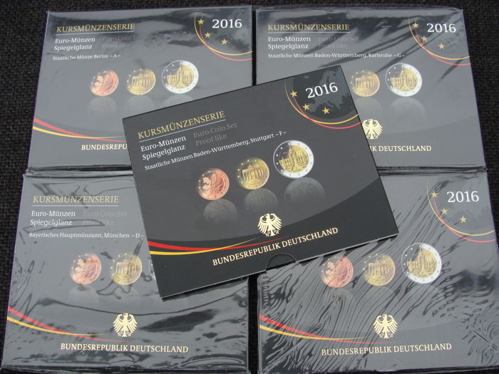 Allemagne Euro Jaarsets 2016 Letters A D F G En J 5 Blisters Proof Catawiki