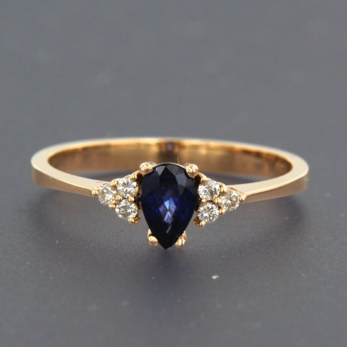 Ring - Pink gold - No indication of treatments - 0.12 ct - Diamond and Sapphire