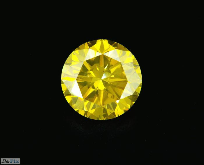 2.20 Carat Fancy Intense Yellow VS2 Round Diamond Color Enhanced  LOW RESERVE!