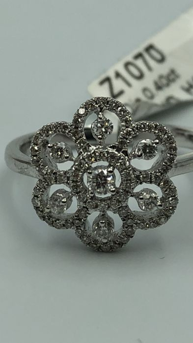Ring - White gold - Natural (untreated) - 0.4 ct - Diamond