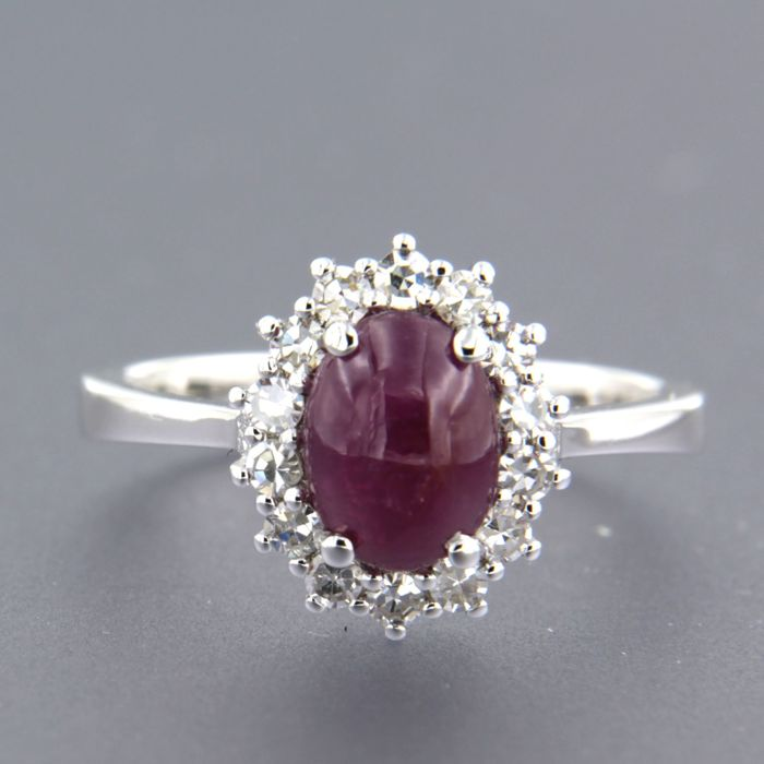 Bague - Or blanc - 0.32 ct - Diamant et Rubis