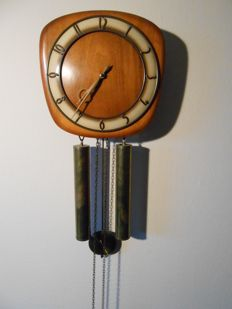 Vintage Clock with two weights - Copper, Wood