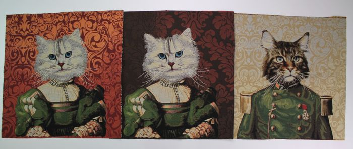3 tapestries Gifts cats on textile gobelin fabric, drawings of cats on a damasked background.textile, - misto cotone - 2018
