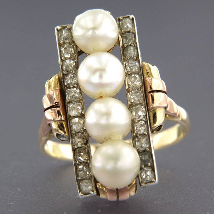 Ring - Gold - 0.8 ct - Diamond and Pearl