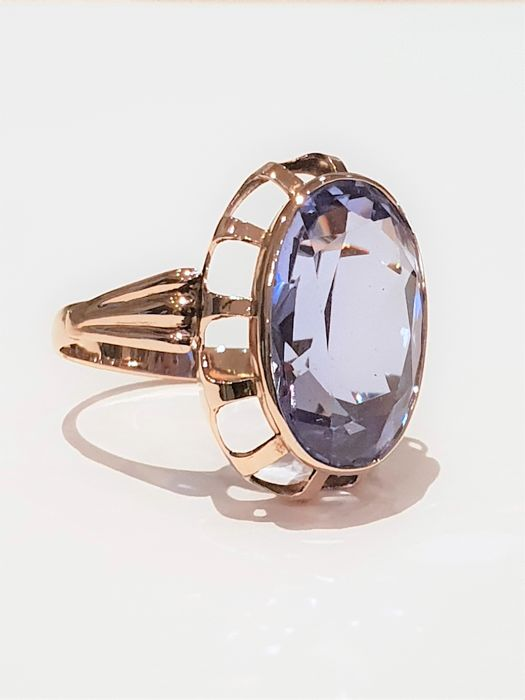 Ring - Gold - 12.5 ct - Synthetic topaz