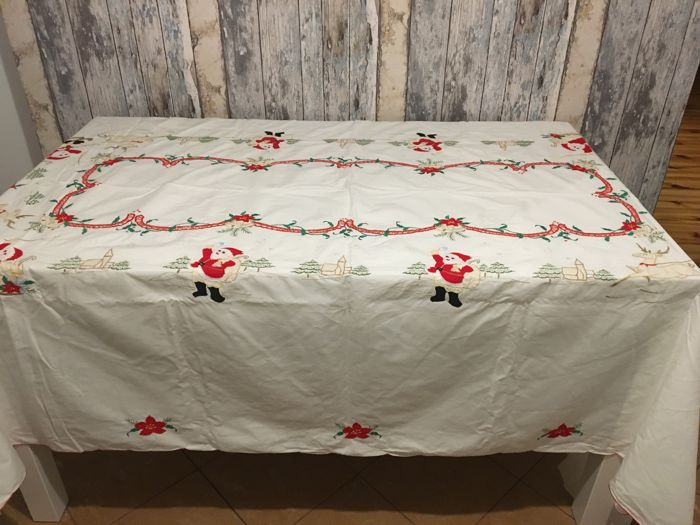 Vintage Embroidered Christmas Tablecloth - Unknown