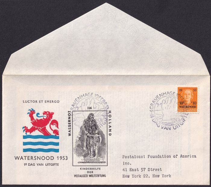 Nederland 1953 - FDC E12,  Pestalozzi Sichting met  documentatie