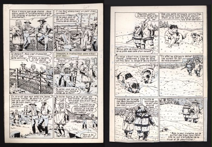 Le Rallic - 2x Planche originale - Yuki, chien de traineau - Loose page - First edition - (1960)