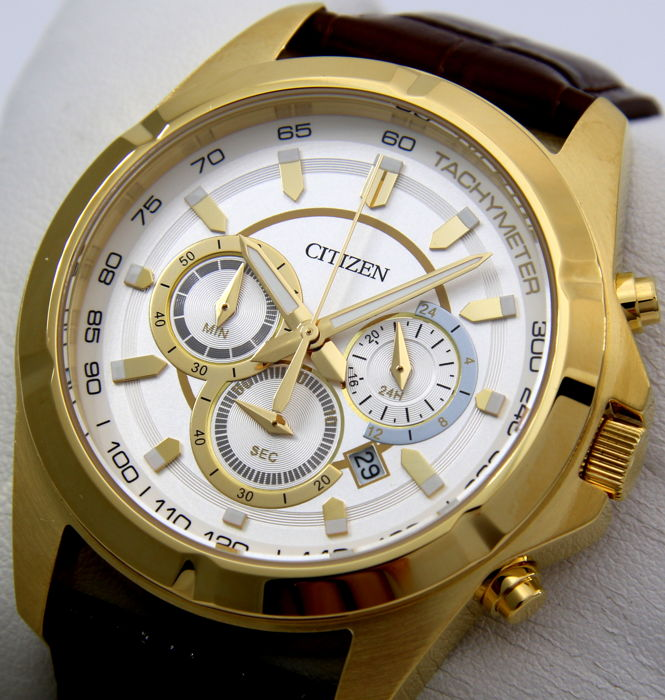 "Citizen - Chronograph Leather ""Gold-White Dial"" - Heren - 2018"