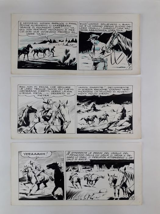Tex s. Gila - F. Gamba - 3x strisce originali  - Loose page - First edition
