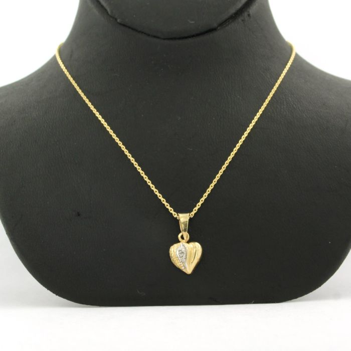Necklace with Pendant - Gold, White gold - No indication of treatments - 0.005 ct - Diamond
