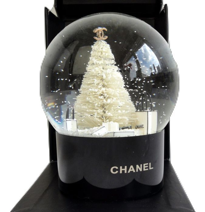 Chanel Christmas Tree Snow Scene Decoration Globe - Chanel Snow Globe - VIP Gift - Perfume No 5 - 1 - Glass