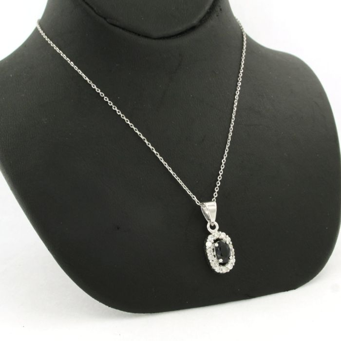 Necklace with Pendant - White gold - Natural (untreated) - 0.28 ct - Diamond and Sapphire