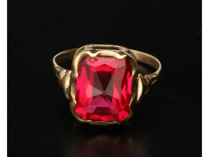 Synthetische robijn - Ring - Gold - Ruby